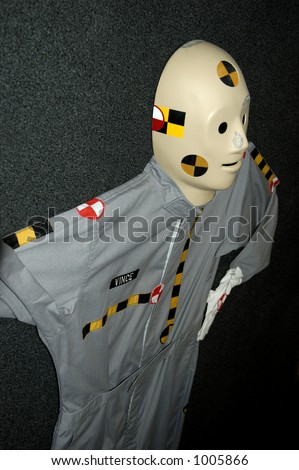 Closeup of crash test dummy - stock photo