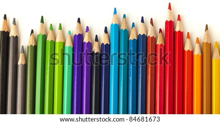 closeup of crayons on a white background - stock photo