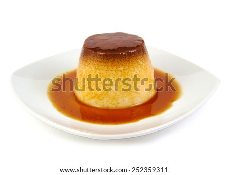 Closeup of creme caramel, caramel custard or custard pudding on white background - stock photo