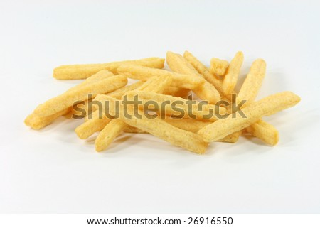 closeup of crunchy yellow cheese snacks in white background