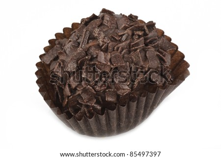 Closeup of cup cake on white background