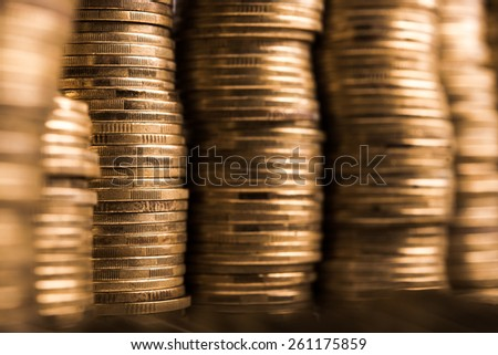 Closeup of currency coins at background