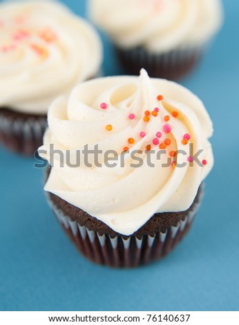 Closeup of Cute Chocolate Cupcakes with Elegant Simple Frosting and Sprinkles - stock photo
