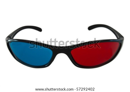 closeup of 3d anaglyph glasses isolated on white background