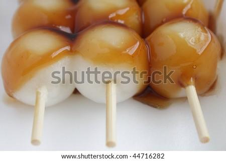 Closeup of dango, Japanese dumpling, made from rice flour - stock photo