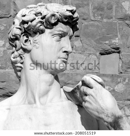 closeup of David by Michelangelo - Piazza Signoria in  Florence, Italy, Europe  - stock photo