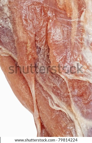 Closeup of defrosted raw lamb meat with selective focus