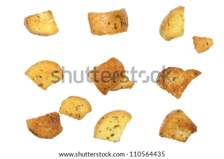 closeup of delicious bread croutons - stock photo