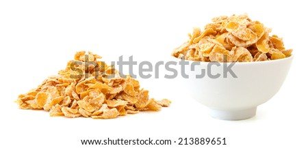 closeup of delicious cereals in white bowl on a white background  - stock photo