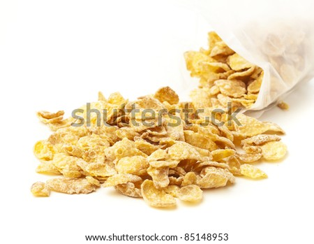 closeup of delicious cereals on a white background