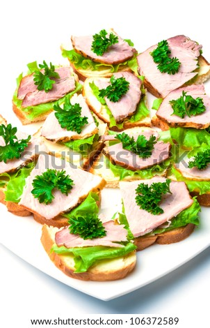 Closeup of delicious ham and salad canapes sandwiches with parsley lying on a white plate.