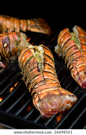 Closeup of delicious juicy lobster tails is grilling on open fire - stock photo