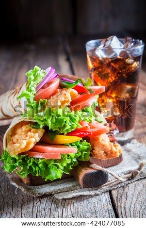Closeup of delicious tortilla with chicken and vegetables - stock photo
