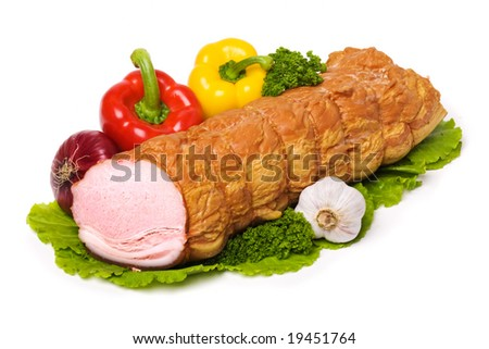 Closeup of delicious whole baked sliced meat - stock photo