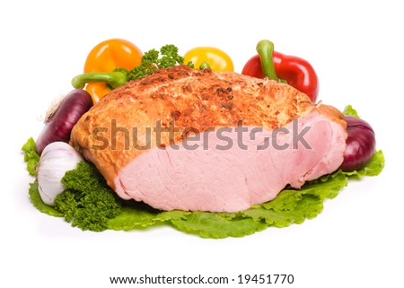 Closeup of delicious whole baked sliced meat