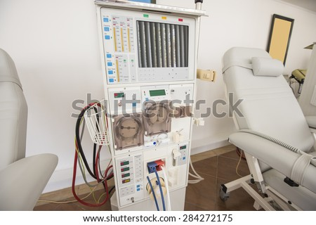 Closeup of dialysis machine and bed in a medical center