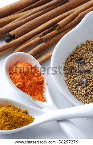 closeup of different aromatic spices - stock photo