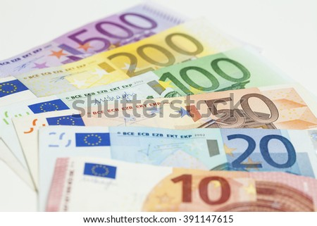 Closeup of different euro banknotes