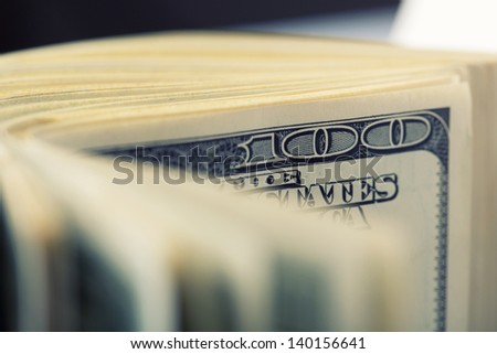 Closeup of $100 dollar bills