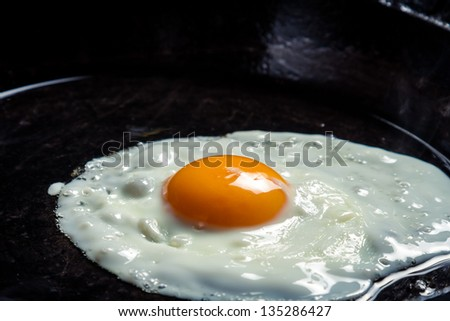 Closeup of eggs fried on a pan