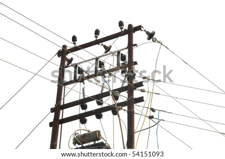 closeup of electric pole with network to wires