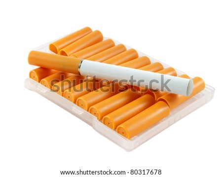 Closeup of electronic cigarette with filters over white surface - stock photo