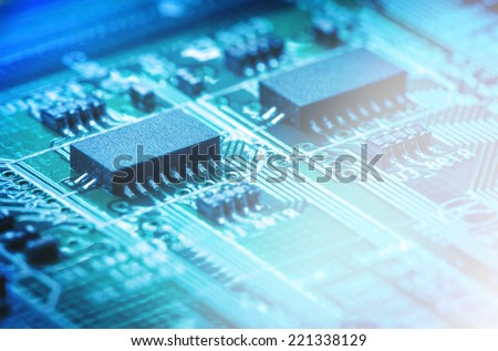 Closeup of electronic circuit board.