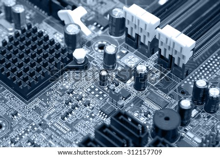 closeup of electronic circuit board in computer