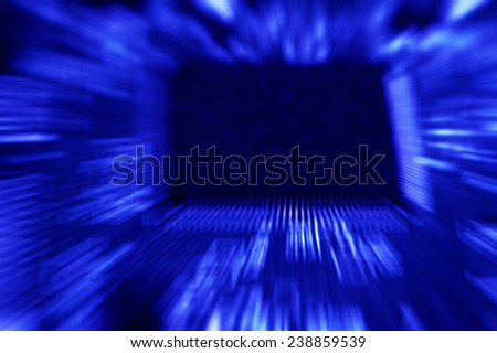closeup of electronic circuit board with processor background - stock photo
