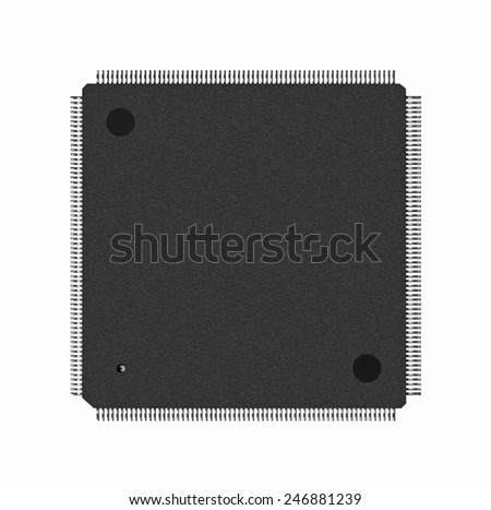 Closeup of electronic processor, isolated on white - stock photo