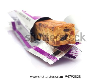 Closeup of energy bar unwrapped - stock photo