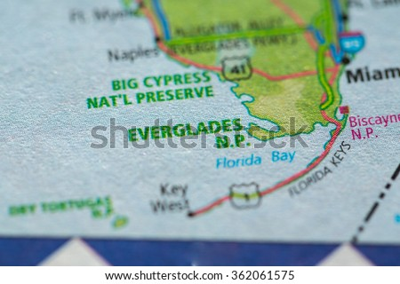 Closeup of Everglades National Park on a geographical map. - stock photo
