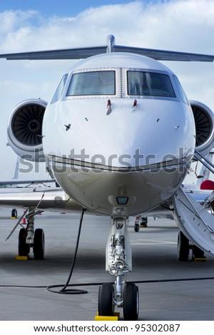Closeup of Executive Jet - stock photo