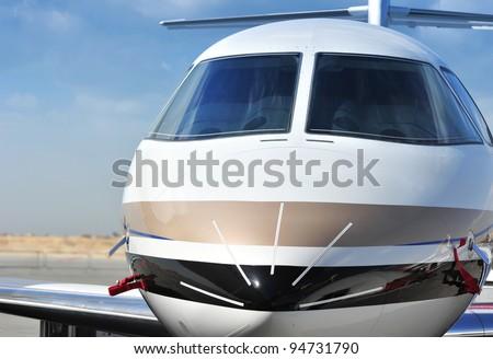 Closeup of Executive Jet Cockpit - stock photo