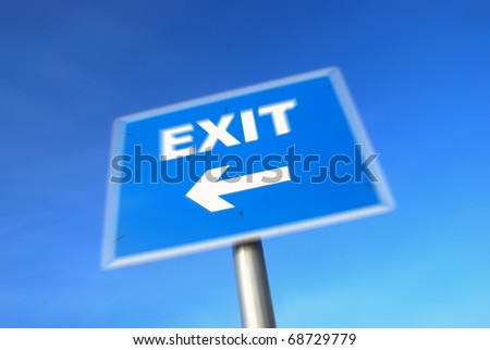 Closeup of Exit Sign with zoom effect - stock photo