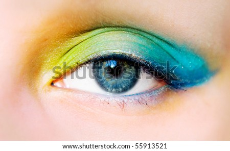 closeup of eye with bright makeup