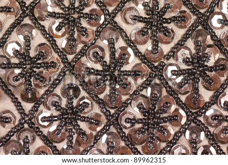 Closeup of Fabric and Beadwork on an Antique Purse to be Used as a Background with Room for Your Words or as An Example of Beading as a Pastime Activity - stock photo