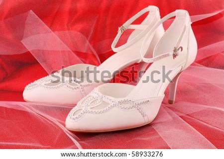 Closeup of fashionable bridal wedding shoes - stock photo