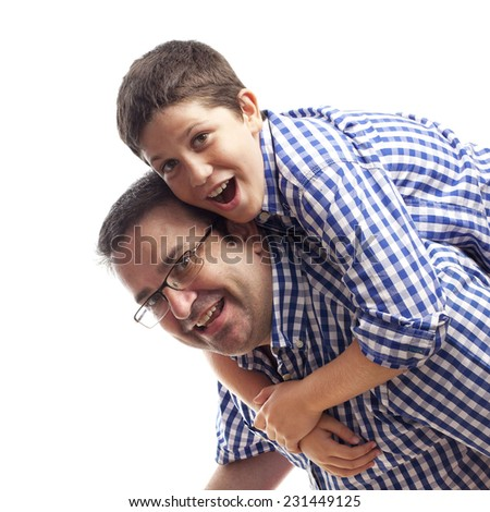 closeup of Father and son playing - stock photo
