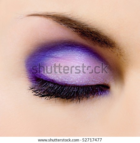 closeup of female eye with beautiful make-up - stock photo