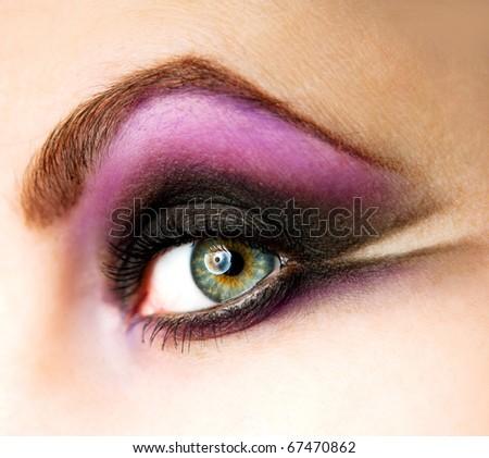 closeup of female eye with beautiful make-up - stock photo