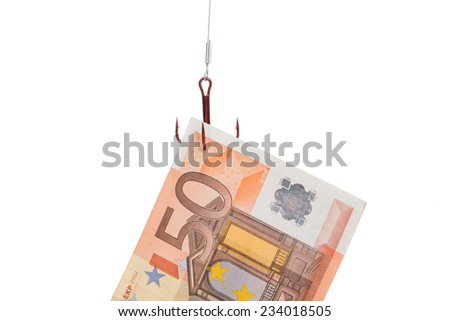 Closeup of fifty euro bill trapped in fishing hook against white background - stock photo