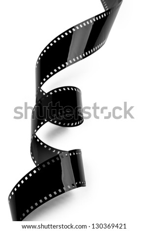 Closeup of film strip isolated on white background. Clipping path included. - stock photo
