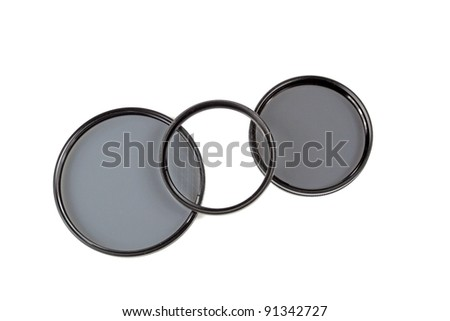 closeup of filters lense on white background - stock photo