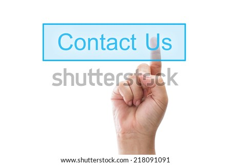 closeup of finger press on contact us button - stock photo