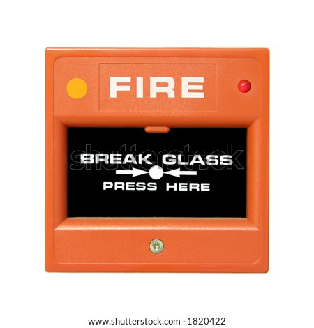 Closeup of fire alarm button - stock photo
