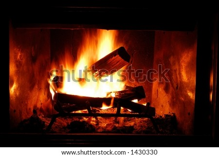 Closeup of fire in fireplace