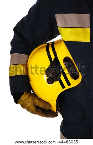 Closeup of firefighter holding helmet isolated on white