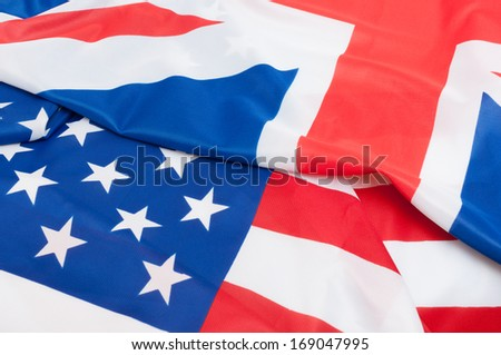 Closeup of Flags of Great Britain and USA - stock photo