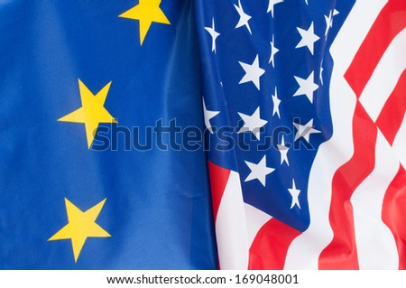 Closeup of Flags of USA and European Union